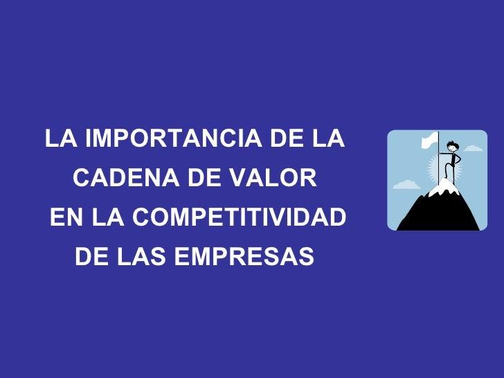 LA IMPORTANCIA DE LA  CADENA DE VALOR  EN LA COMPETITIVIDAD DE LAS EMPRESAS