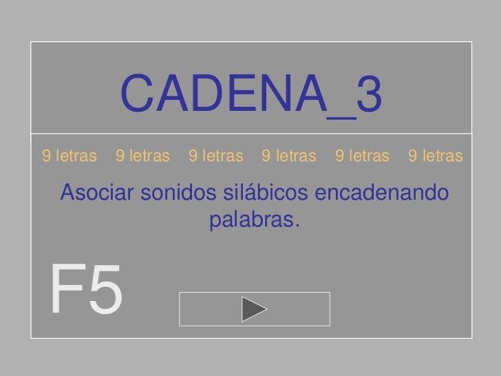 CADENA_39 letras   9 letras   9 letras   9 letras   9 letras   9 letras  Asociar sonidos silábicos encadenando            ...