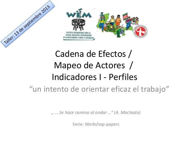"""Cadena de Efectos / Mapeo de Actores / Indicadores I - Perfiles """"un intento de orientar eficaz el trabajo"""" """" ... Se hace c..."""