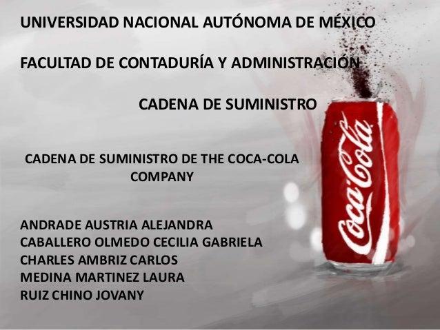 UNIVERSIDAD NACIONAL AUTÓNOMA DE MÉXICO  FACULTAD DE CONTADURÍA Y ADMINISTRACIÓN  CADENA DE SUMINISTRO  CADENA DE SUMINIST...