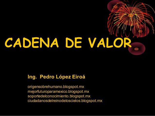 CADENA DE VALOR  Ing. Pedro López Eiroá  origensobrehumano.blogspot.mx  mejorfuturoparamexico.blogspot.mx  soportedelconoc...
