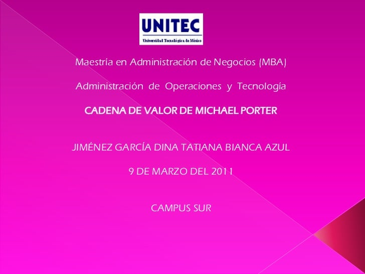 Maestría en Administración de Negocios (MBA)Administración de Operaciones y Tecnología  CADENA DE VALOR DE MICHAEL PORTERJ...