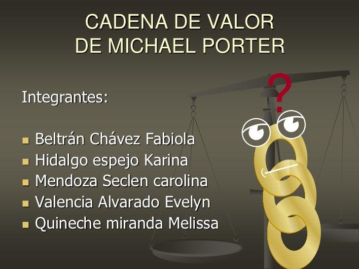 CADENA DE VALOR         DE MICHAEL PORTERIntegrantes:                               ?   Beltrán Chávez Fabiola   Hidalgo...