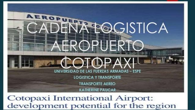 CADENA LOGISTICA AEROPUERTO COTOPAXIUNIVERSIDAD DE LAS FUERZAS ARMADAS – ESPE LOGISTICA Y TRANSPORTE TRANSPORTE AEREO KATH...