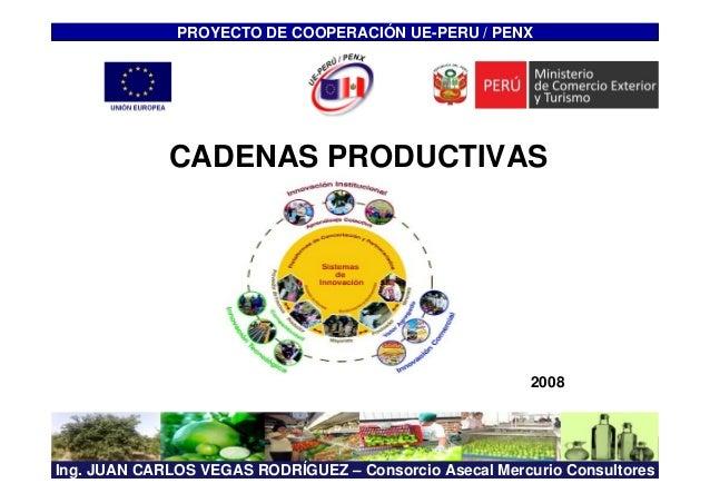 Ing. JUAN CARLOS VEGAS RODRÍGUEZ – Consorcio Asecal Mercurio Consultores CADENAS PRODUCTIVAS PROYECTO DE COOPERACIÓN UE-PE...