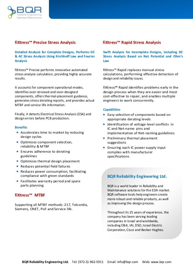 BQR Reliability Engineering Ltd. Tel: (972-3)-962-5911 Email: info@bqr.com Web: www.bqr.com fiXtress™ Rapid Stress Analysi...
