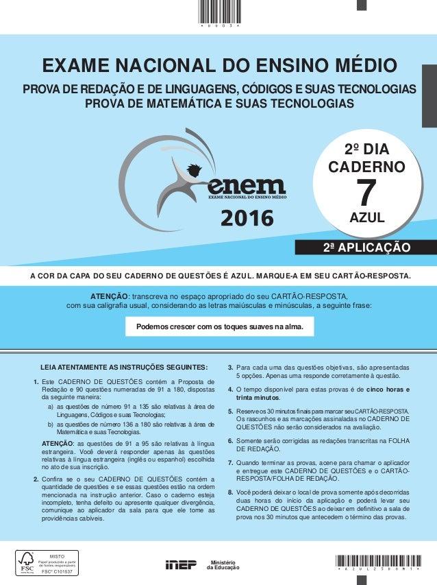 Prova Enem 2016 - Caderno Azul - Segundo dia Segunda aplicação fff8bd092944e
