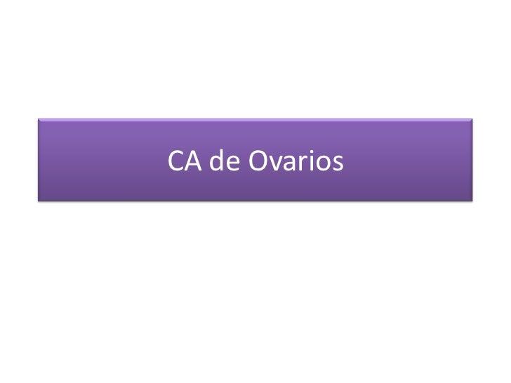 CA de Ovarios