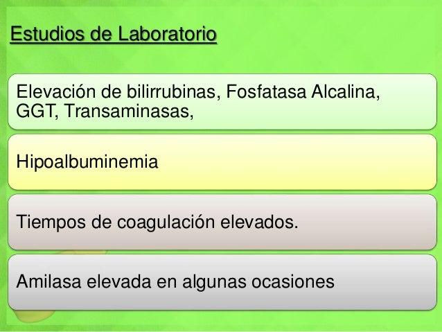 Estudios de Laboratorio Elevación de bilirrubinas, Fosfatasa Alcalina, GGT, Transaminasas, Hipoalbuminemia Tiempos de coag...