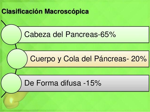 Clasificación Macroscópica Cabeza del Pancreas-65% Cuerpo y Cola del Páncreas- 20% De Forma difusa -15%