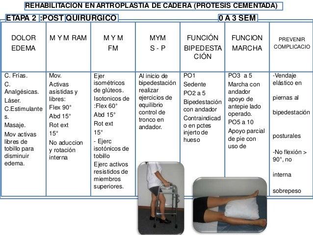 REHABILITACION EN ARTROPLASTIA DE CADERA (PROTESIS NO CEMENTADA) ETAPA 3 : 3 A 6 SEM NES 90° no rotación supervisado resis...