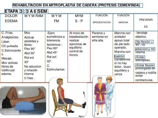 REHABILITACION EN ARTROPLASTIA DE CADERA (PROTESIS NO CEMENTADA) ETAPA 4 : 6 SEM A 6 MESES - Evaluar de MMII uso de ortopé...
