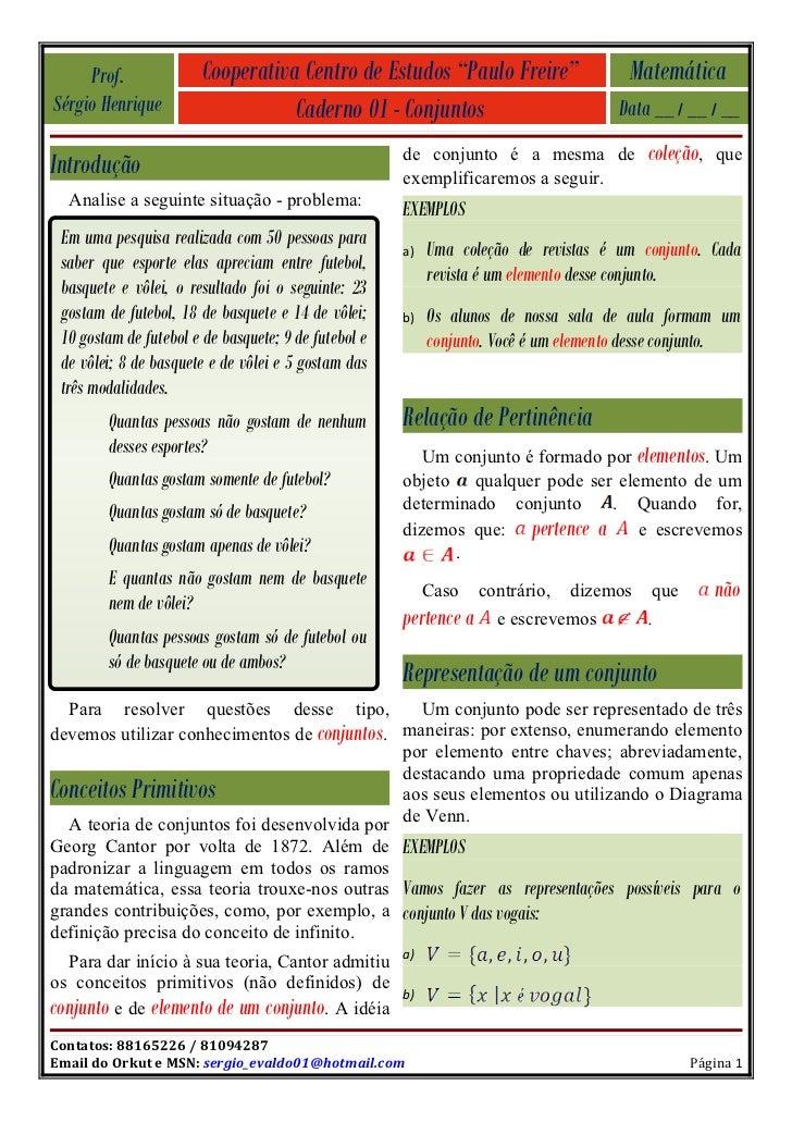 "Prof.              Cooperativa Centro de Estudos ""Paulo Freire""                   Matemática Sérgio Henrique              ..."