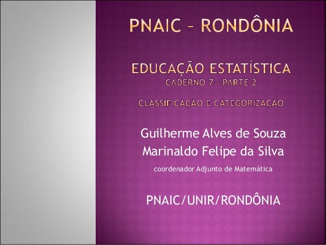 Guilherme Alves de Souza  Marinaldo Felipe da Silva  coordenador Adjunto de Matemática  PNAIC/UNIR/RONDÔNIA