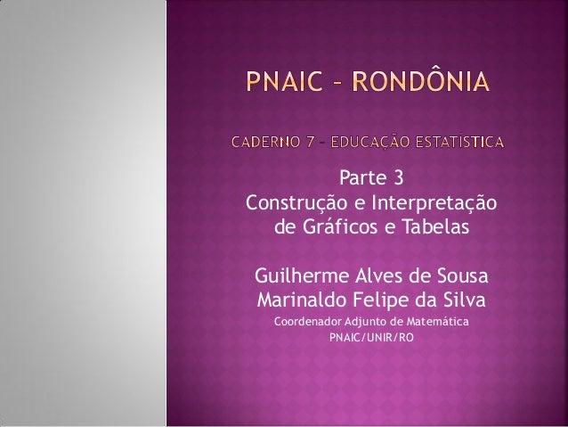 Parte 3  Construção e Interpretação  de Gráficos e Tabelas  Guilherme Alves de Sousa  Marinaldo Felipe da Silva  Coordenad...