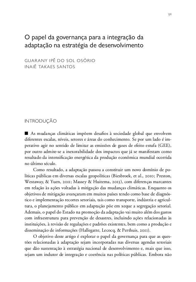 51 O papel da governança para a integração da adaptação na estratégia de desenvolvimento Guarany Ipê do Sol Osório Inaiê T...