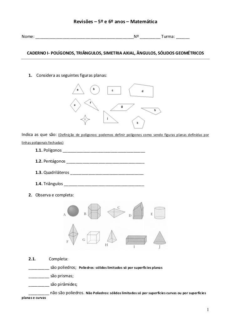 Revisões – 5º e 6º anos – MatemáticaNome: ___________________________________________Nº _________ Turma: ______   CADERNO ...