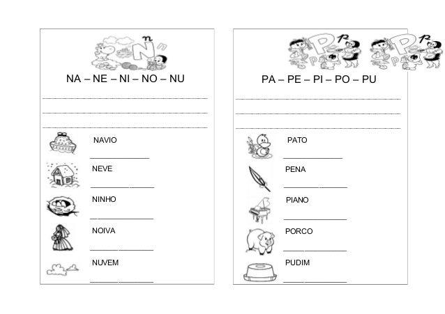 Caderno de atividades com famílias silábicas