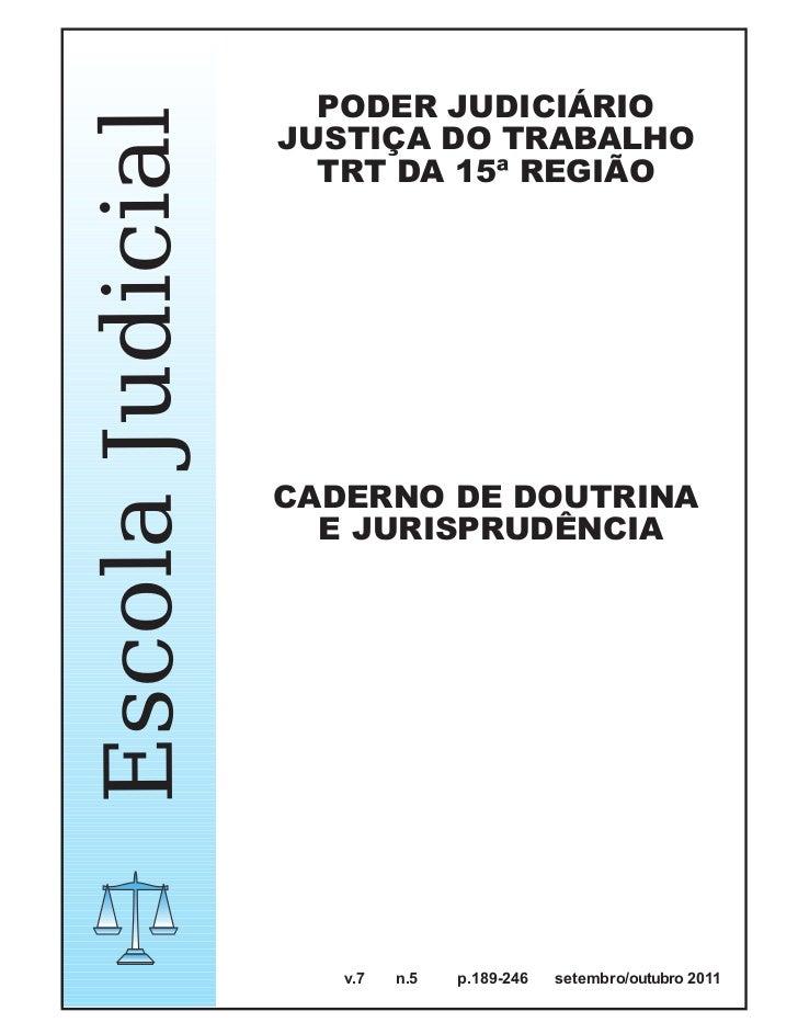 PODER JUDICIÁRIOEscola Judicial   JUSTIÇA DO TRABALHO                    TRT DA 15ª REGIÃO                  CADERNO DE DOU...