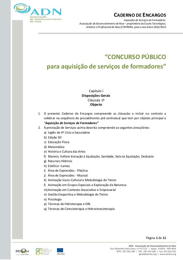 CADERNO DE ENCARGOS                                                                     Aquisição de Serviços de Formadore...