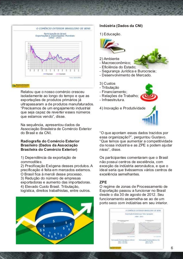 Indústria (Dados da CNI)  1) Educação.  2) Ambiente  - Macroeconômico;  - Eficiência do Estado;  - Segurança Jurídica e Bu...