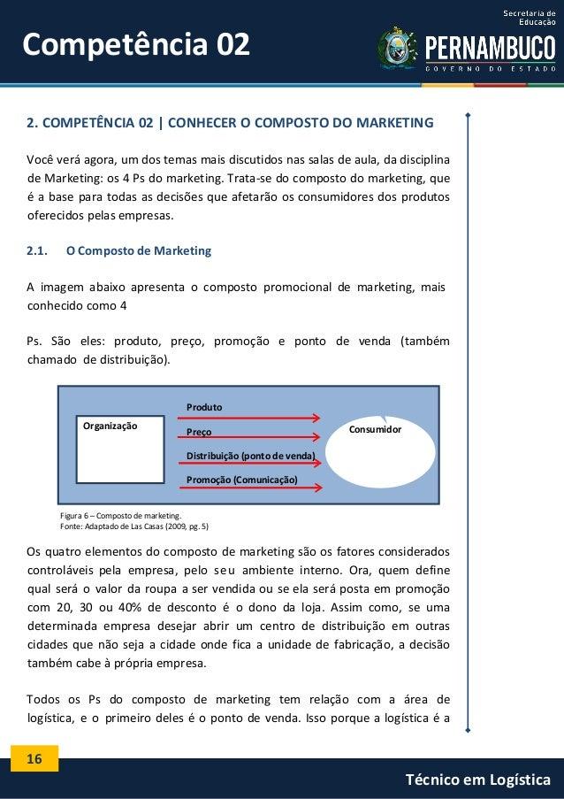 16 Técnico em Logística Organização Competência 02 2. COMPETÊNCIA 02 | CONHECER O COMPOSTO DO MARKETING Você verá agora, u...
