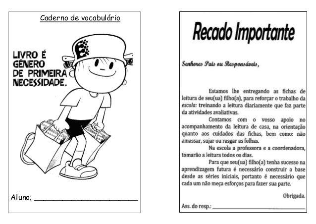 Caderno de vocabulário Aluno; ______________________