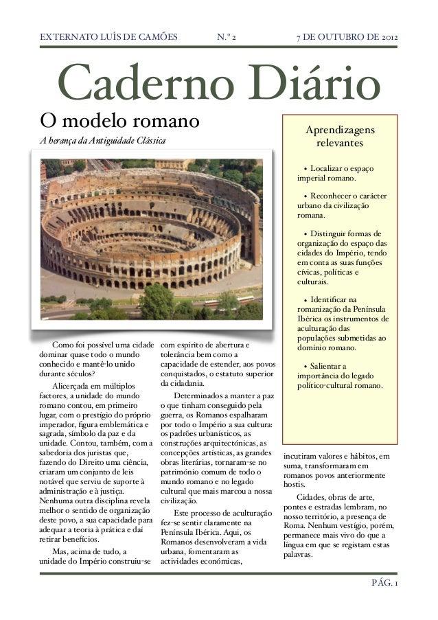 EXTERNATO LUÍS DE CAMÕES                            N.º 2!                 7 DE OUTUBRO DE 2012    Caderno DiárioO modelo ...