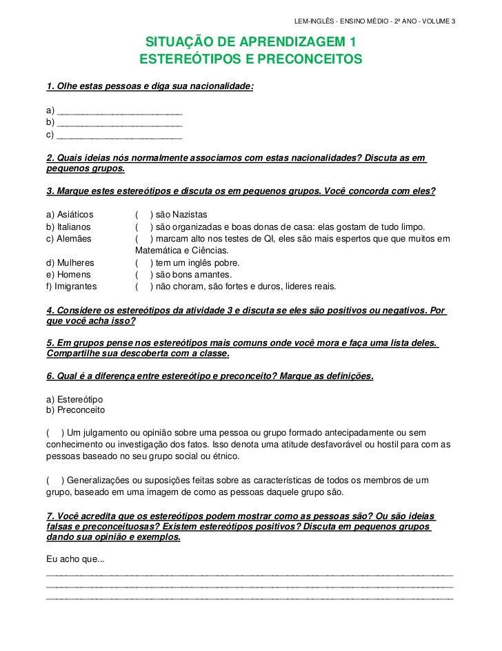 LEM-INGLÊS - ENSINO MÉDIO - 2º ANO - VOLUME 3                       SITUAÇÃO DE APRENDIZAGEM 1                      ESTERE...
