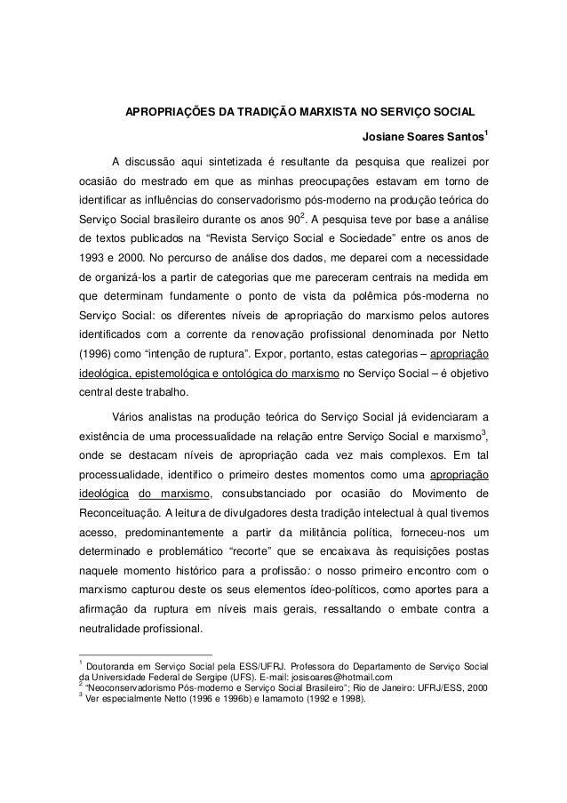 APROPRIAÇÕES DA TRADIÇÃO MARXISTA NO SERVIÇO SOCIAL                                                                 Josian...