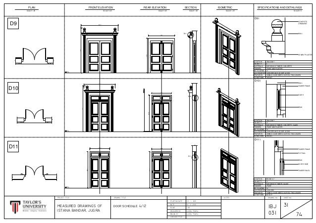 Cad drawings methods of documentation and measured drawing for Schedule of doors and windows sample