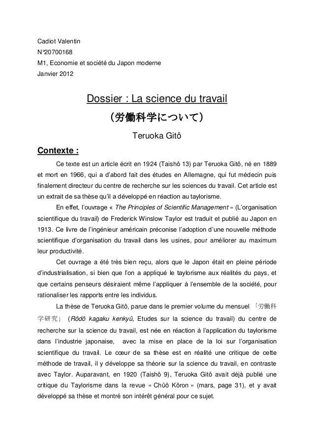 Cadiot ValentinN°20700168M1, Economie et société du Japon moderneJanvier 2012                     Dossier : La science du ...