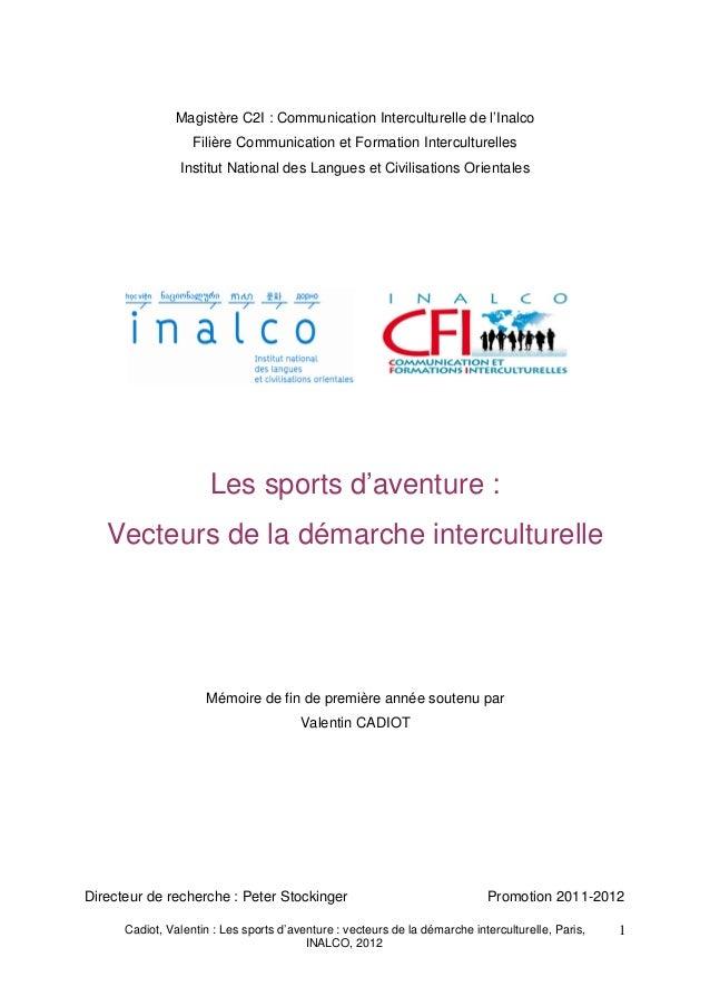 Magistère C2I : Communication Interculturelle de l'Inalco                   Filière Communication et Formation Intercultur...