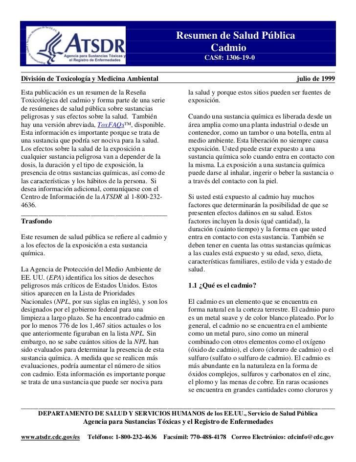 Resumen de Salud Pública                                                               Cadmio                             ...