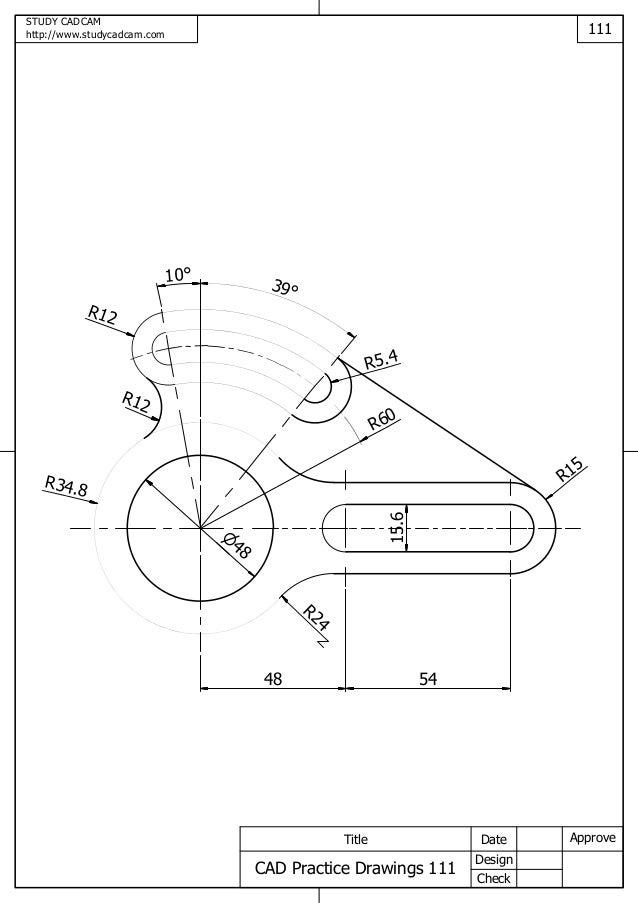 cad practice drawings 111 120. Black Bedroom Furniture Sets. Home Design Ideas