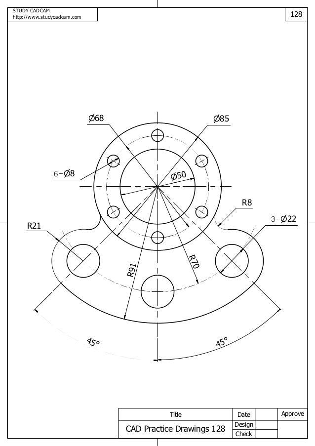 Cad practice drawings 121 130