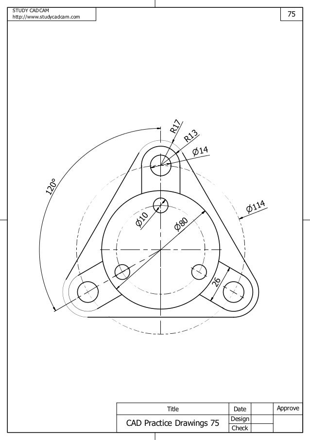 Cad practice drawings 71 80