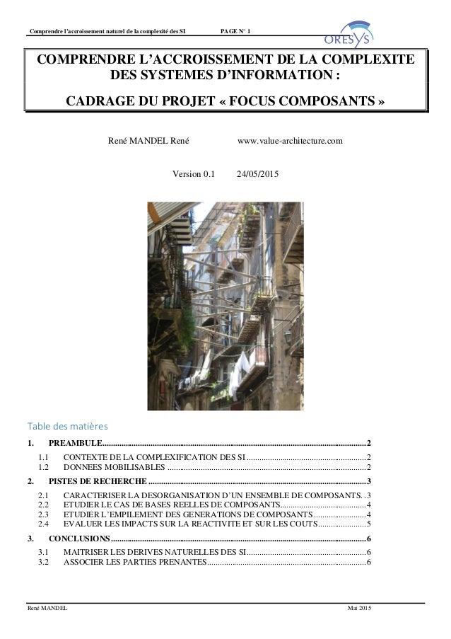 Comprendre l'accroissement naturel de la complexité des SI PAGE N° 1 René MANDEL Mai 2015 COMPRENDRE L'ACCROISSEMENT DE LA...
