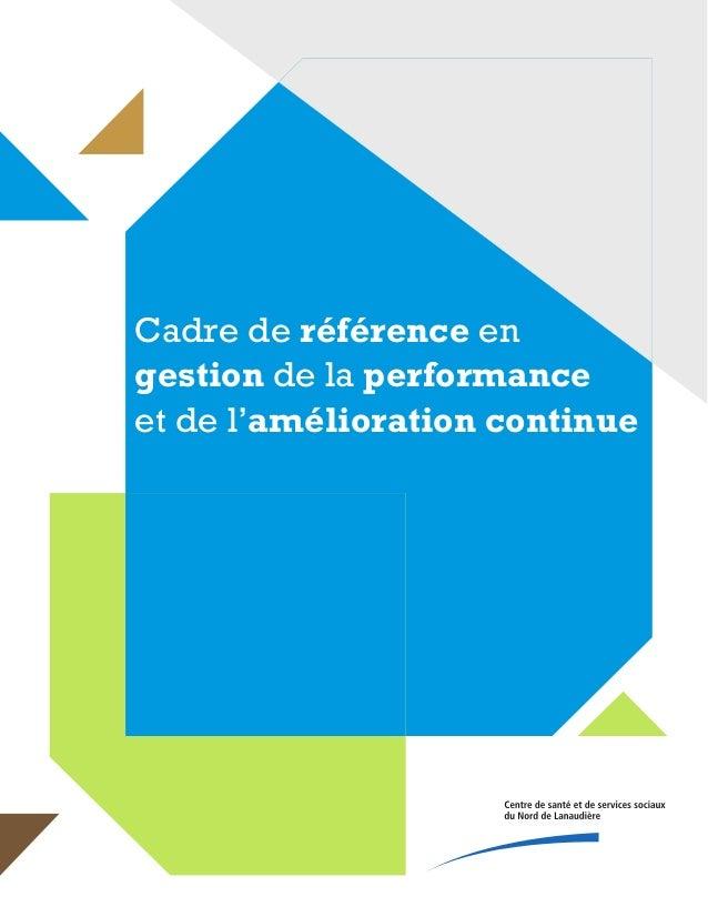 Cadre de référence en gestion de la performance et de l'amélioration continue