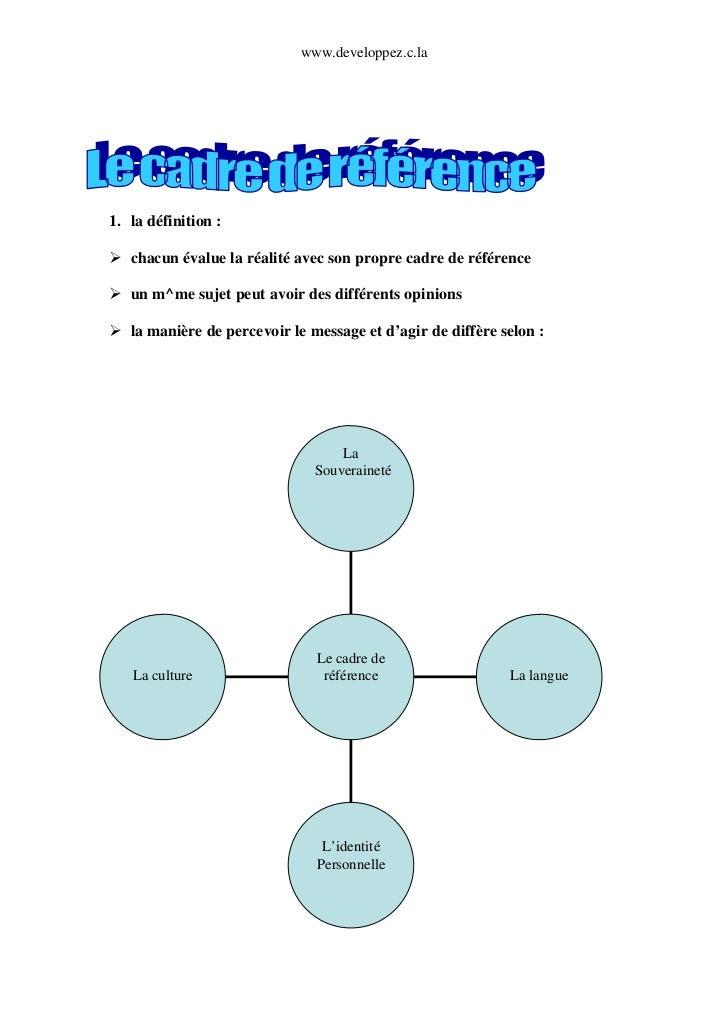 www.developpez.c.la1. la définition :   chacun évalue la réalité avec son propre cadre de référence   un m^me sujet peut a...