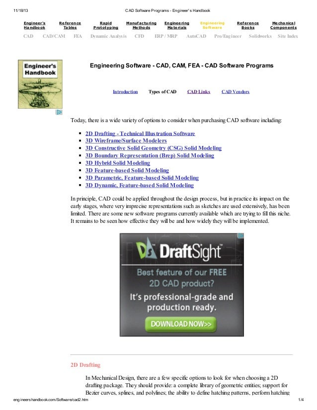 11/18/13 CAD Software Programs - Engineer's Handbook engineershandbook.com/Software/cad2.htm 1/4 Engineering Software - CA...