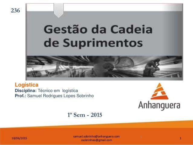 18/06/2015 samuel.sobrinho@anhanguera.com ssobrinhoo@gmail.com 1 Logística Disciplina: Técnico em logística Prof.: Samuel ...
