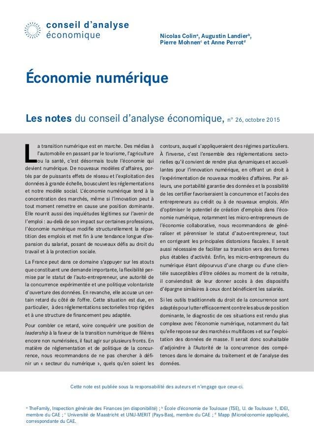 Cette note est publiée sous la responsabilité des auteurs et n'engage que ceux-ci. Nicolas Colina , Augustin Landierb , Pi...