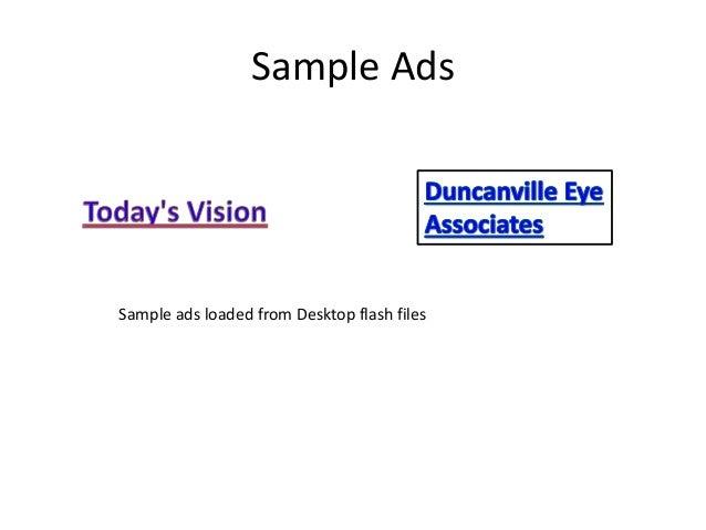 Sample Ads Loaded From Desktop Flash Files