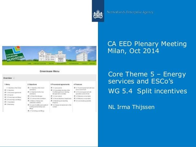 CA EED Plenary Meeting  Milan, Oct 2014  Core Theme 5 – Energy  services and ESCo's  WG 5.4 Split incentives  NL Irma Thij...