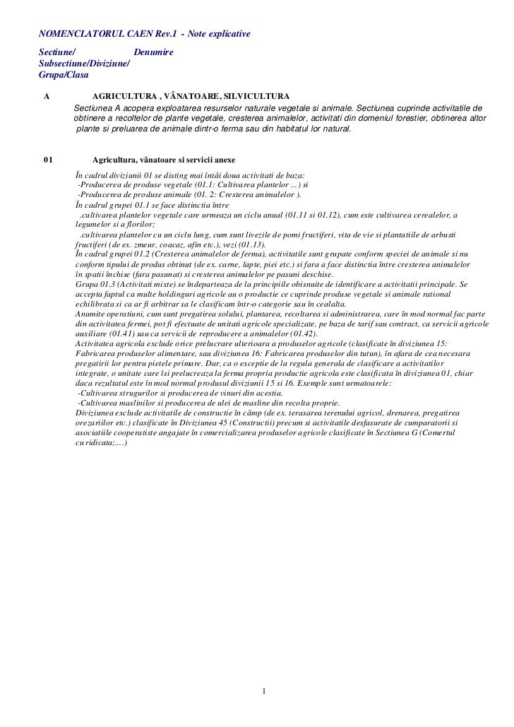 NOMENCLATORUL CAEN Rev.1 - Note explicativeSectiune/              DenumireSubsectiune/Diviziune/Grupa/Clasa A           AG...