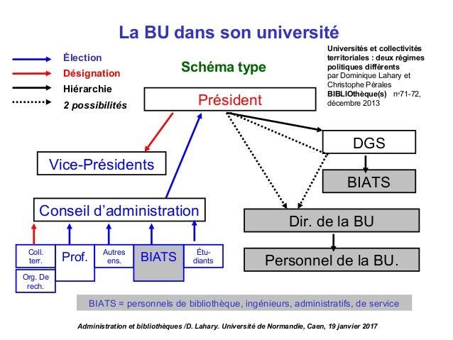 La BU dans son université Président DGS BIATS Dir. de la BU Conseil d'administration Vice-Présidents Personnel de la BU. S...