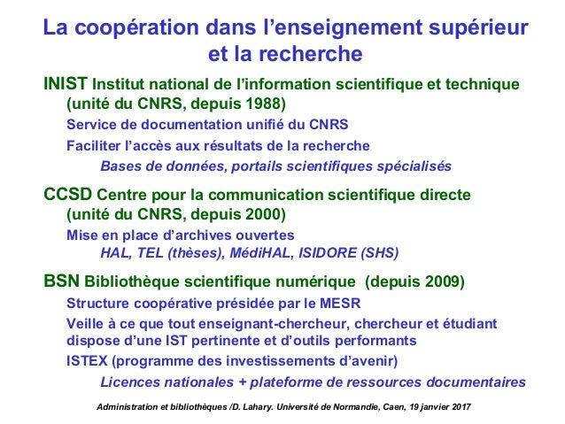 La coopération dans l'enseignement supérieur et la recherche INIST Institut national de l'information scientifique et tech...