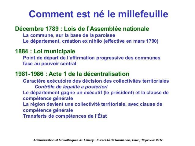 Comment est né le millefeuille Décembre 1789 : Lois de l'Assemblée nationale La commune, sur la base de la paroisse Le dép...