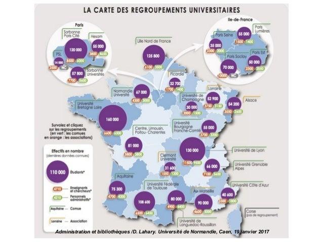 Universités : LRU et COMUE Administration et bibliothèques /D. Lahary. Université de Normandie, Caen, 19 janvier 2017